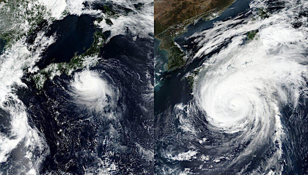 台風19号と台風15号との大きさ比較(2) \u2013 アストロピクス