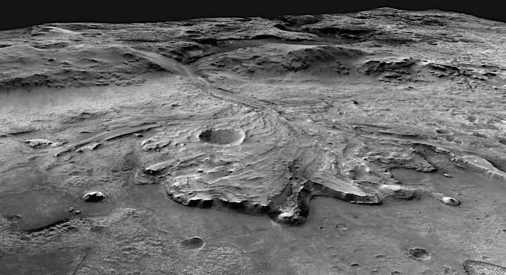 パーサヴィアランスの着陸予定地周辺の立体画像。Image Credit: NASA/MSSS/USGS