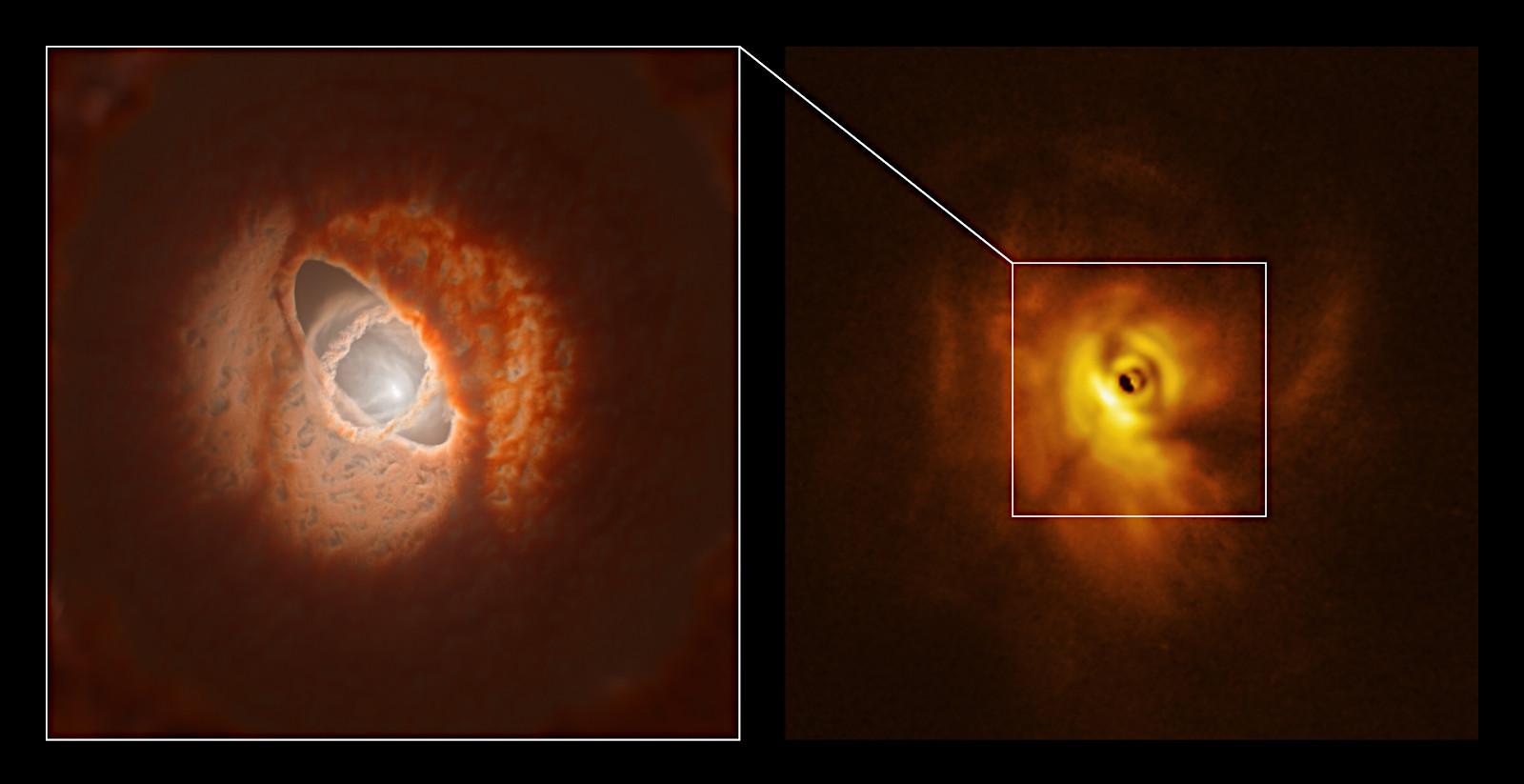 中心の3連星がまわりの原始惑星系円盤を引き裂いた! | アストロピクス