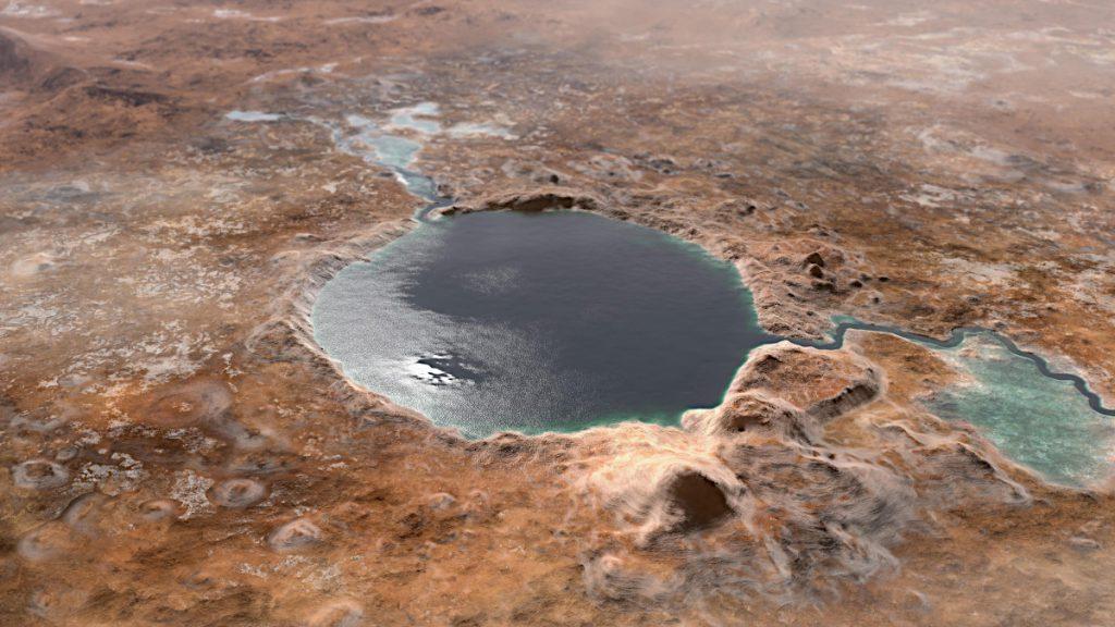 水をたたえていた頃のジェゼロ・クレーターの想像図。Credit: NASA/JPL-Caltech
