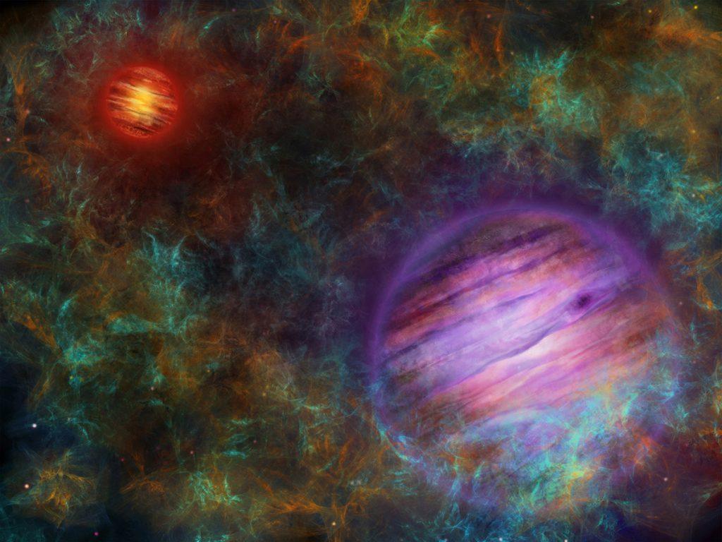 連星系Oph 98の想像図。奥がOph 98 A、手前がOph 98 Bです。Oph 98を生み出した分子雲に取り囲まれています。
