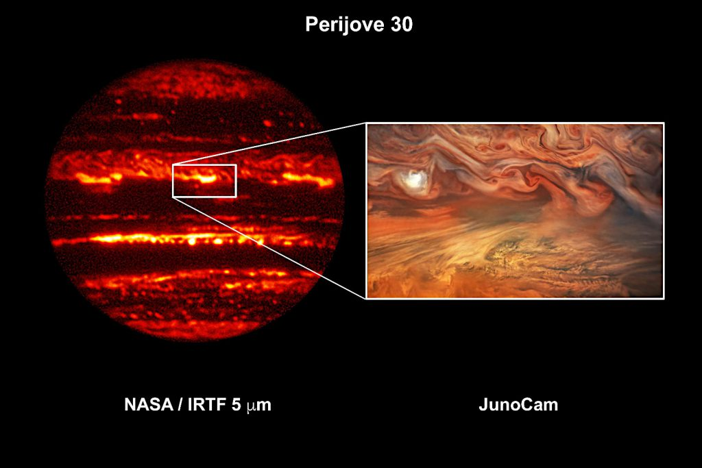 Image Credit: Infrared Telescope Facility: NASA/Infrared Telescope Facility/University of Hawaii/G. S. Orton (JPL)、JunoCam image: NASA/JPL-Caltech/SwRI/MSSS/Kevin Gill © CC BY / Tom Momary © CC BY