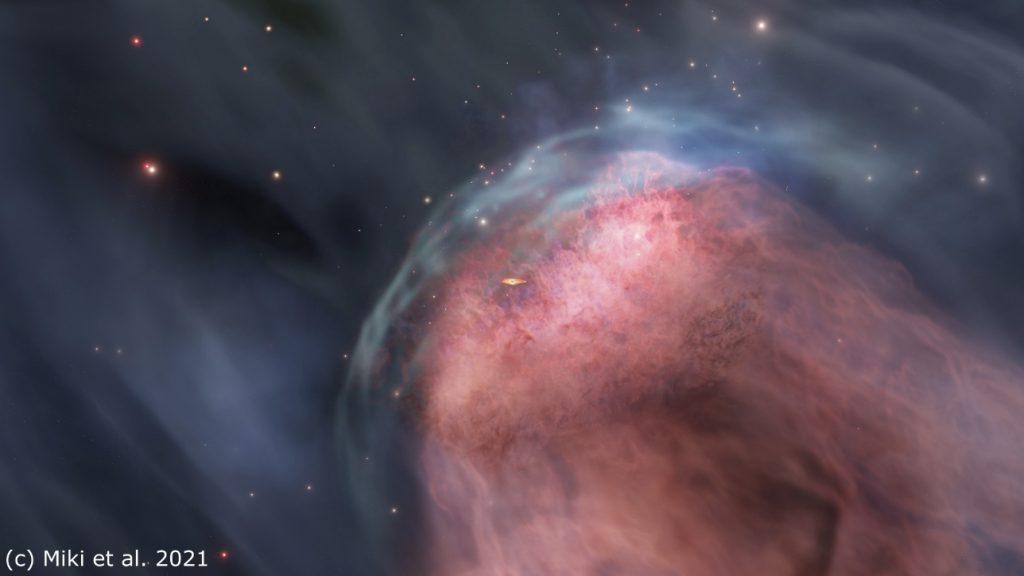 銀河衝突によってブラックホール周辺のガスが持ち去られる様子を描いた想像図。