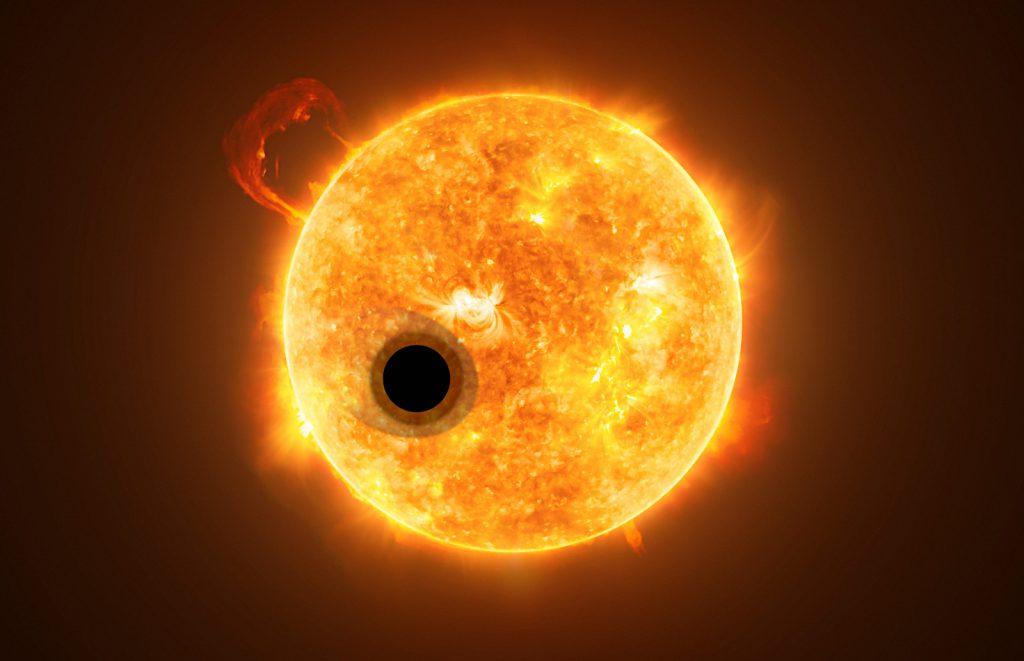 主星をまわるWASP-107bの想像図。