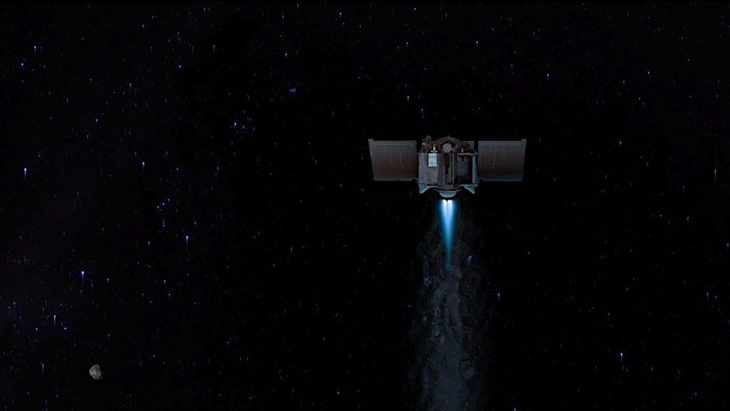 小惑星ベンヌ(左下)を出発するオシリス・レックスの想像図。Image Credit: NASA/Goddard/University of Arizona