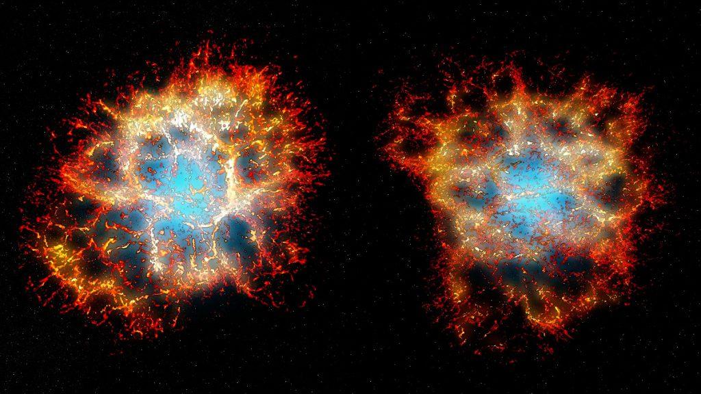 3次元的に再構成したかに星雲。左は地球から見たときの形で、右は別の角度から見たもの。Credit: Thomas Martin, Danny Milisavljevic and Laurent Drissen