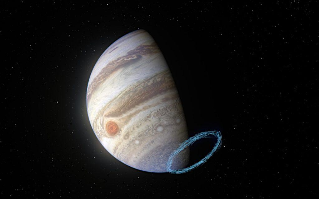 木星の南極付近の成層圏の風のイメージ図。青い線はジェットの風速を表しています。木星画像はジュノー 探査機が撮影したもの。Image Credit: ESO/L. Calçada & NASA/JPL-Caltech/SwRI/MSSS