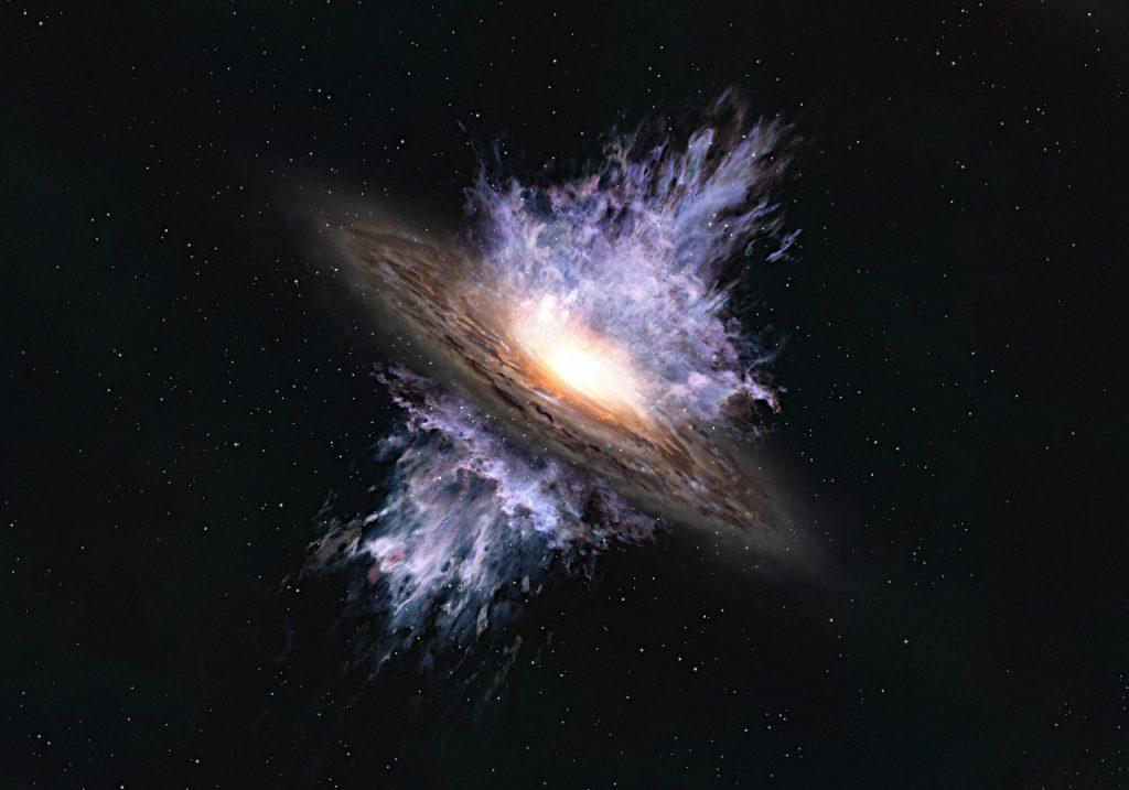 銀河風が吹き荒れるようすを描いた想像図。Credit: ALMA (ESO/NAOJ/NRAO)
