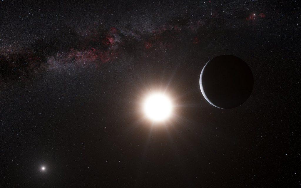 ケンタウルス座α星Bを周回する惑星の想像図。左下にはケンタウルス座α星Aが描かれています。Image Credit: ESO/L. Calçada/Nick Risinger (skysurvey.org)