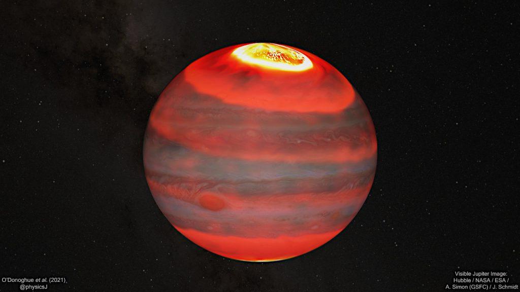 木星の高層大気での赤外線の輝きの様子を、可視光画像の上に重ねて描いた想像図。温度の高い方から低い方へ、白、黄、オレンジ、赤で表示されています。Credit: J. O'Donoghue (JAXA)/Hubble/NASA/ESA/A. Simon/J. Schmidt