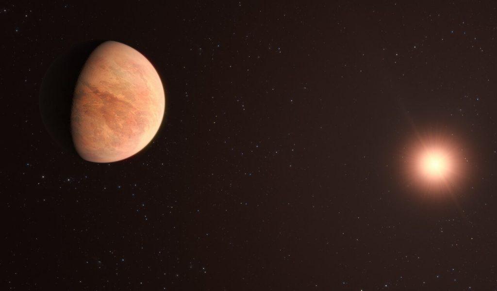 L 98-59を公転する太陽系外惑星の1つ、L 98-59bの想像図。L 98-59bの質量は金星の半分しかないことが分かりました。Credit: ESO/M. Kornmesser
