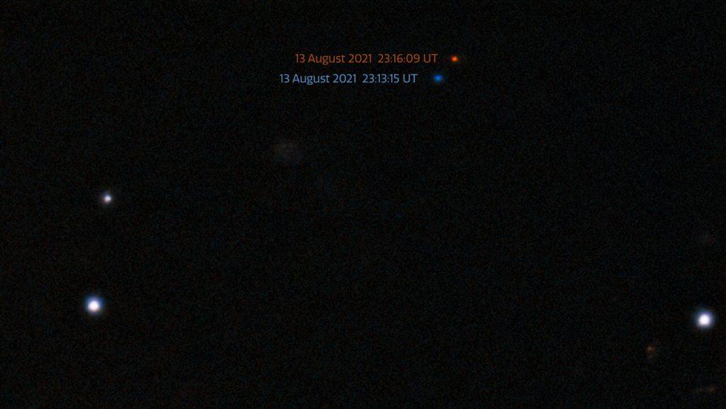 ダークエネルギーカメラで撮影された2021 PH27の画像(青と赤)。3分足らずの間に小惑星の位置がずれているのが分かります。Credit: CTIO/NOIRLab/NSF/DOE/DECam/AURA/S.S. Sheppard (Carnegie Institution of Science)