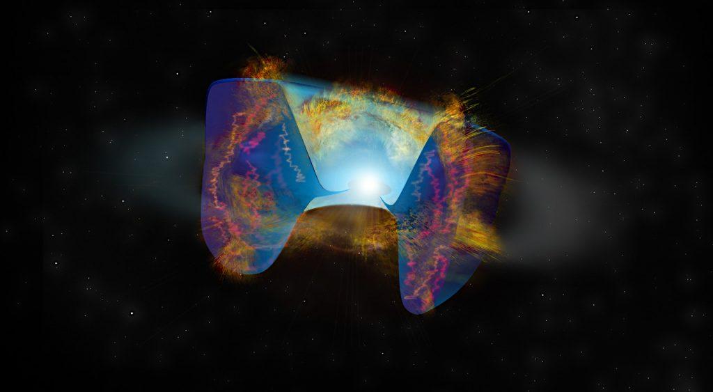 超新星爆発で飛び散った物質が、先に放出されたガスでできたトーラスに衝突した場面の想像イラスト。その衝撃によって明るい電波が発生しました。Credit: Bill Saxton, NRAO/AUI/NSF